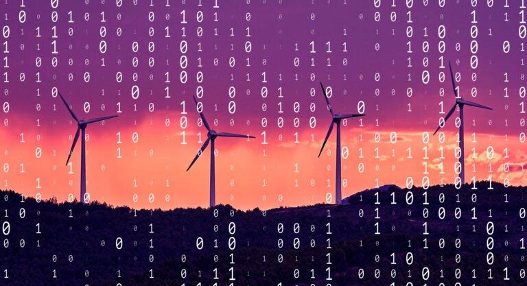 Wind farm overlayed with ones and zeros, symbolising data