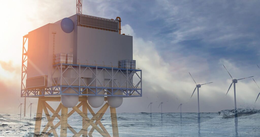 Seascape with semi-transparent installations overlayed (wind turbines and a platform with technical equipment)