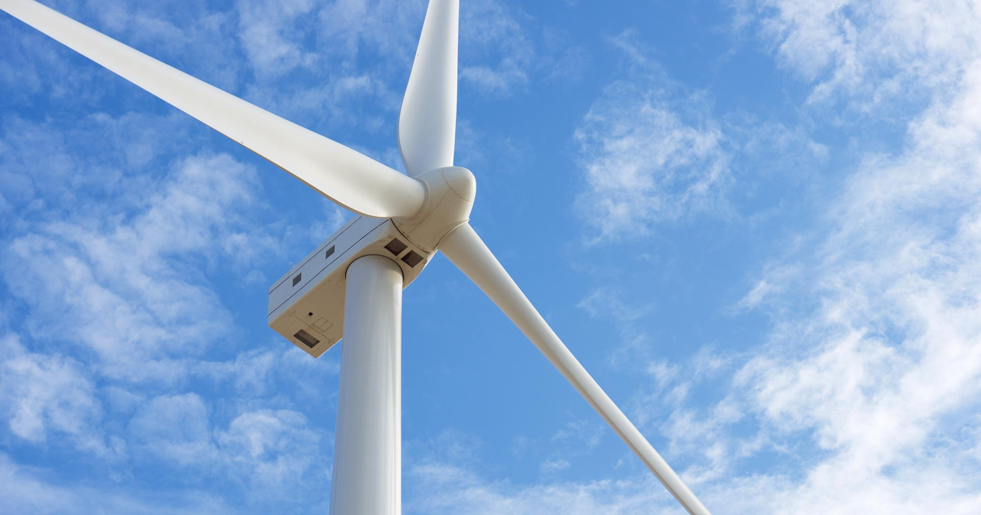 Close-up on a wind turbine